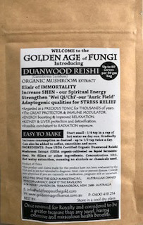 Duanwood Reishi Mushroom Extract back of bag label